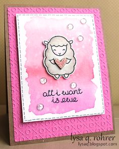 Lawn Fawn - Baaah Humbug _ adorable Valentine design made with a Christmas set, love it! _  All I want is EWE card by Lysa at Lysa Q Rohrer Designs