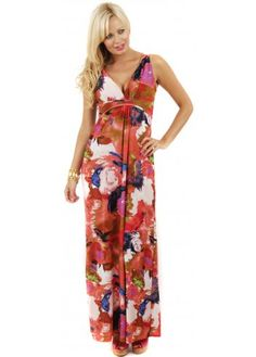 Coral Abstract Print Low Front Maxi Dress