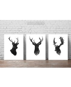 Deer Head Set of 3, Gray Minimalist Drawing, Black Antlers Silhouette, Wall Decor Illustration, Ink Abstract Animal Poster