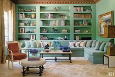 Jadeite hues come together in a Los Angeles living room decorated by Commune.