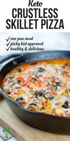 diet recipes This Crustless Skillet Pizza allows you to enjoy the flavors of pizza without all the heavy carbs. Made in one pan and loaded with protein, healthy fats and zesty vegetables, this healthy meal is naturally low-carb, primal and GAPS diet. Low Carb Pizza, Low Carb Keto, Low Carb Recipes, Diet Recipes, Cooking Recipes, Healthy Recipes, Avocado Recipes, Recipies, Paleo Food