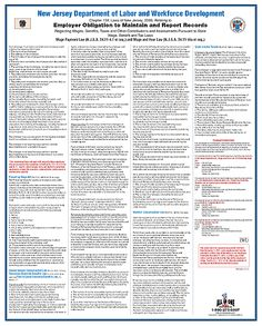 New Jersey Employer Obligation To Maintain and Report Records English-MainImage Employment Background Check, Regulatory Compliance, Bond Paper, Labor Law, Poster Making, Poster Prints, Posters, New Jersey, English