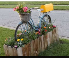 Beautiful bike themed flower bed and mail box combo