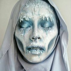 """I like the """"melting"""" and the sunken in cheeks Face Paint Makeup, Sfx Makeup, Costume Makeup, Make Up Art, Eye Make Up, Halloween Make Up, Halloween Face Makeup, Prosthetic Makeup, Fantasy Make Up"""