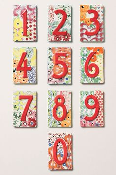 Beautiful numbers for the front of your house.  Unfortunately they're selling out on Anthro, but I bet a talented painter could duplicate these!