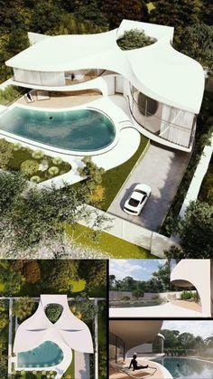 Modern House Facades, Modern Architecture House, Futuristic Architecture, Facade Architecture, Concept Architecture, Amazing Architecture, Village House Design, Bungalow House Design, Villa Pool