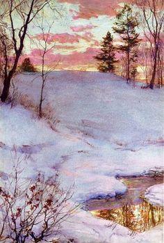 Walter Launt Palmer (American painter, 1854-1932) Winter Sunset