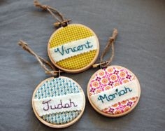Personalized Christmas Ornament. Hand Embroidered Ornament and Gift Tag