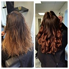 Like the colour in the after with a copper-y ombre vs. blond.