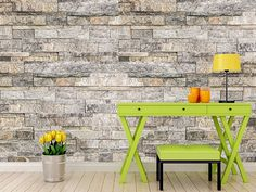 wm526 - Block Stone Wall Self Adhesive Wallpaper - Photo wall mural - peel and stick