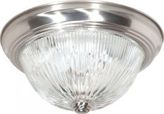Nuvo Lighting 76610 Two Light Flush Mount Brushed Nickel Finish with Clear Ribbed Glass * Check out this great product. (Note:Amazon affiliate link) #Lighting