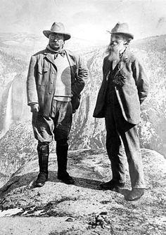 Pres. Theodore Roosevelt and John Muir in Yosemite Valley circa 1908