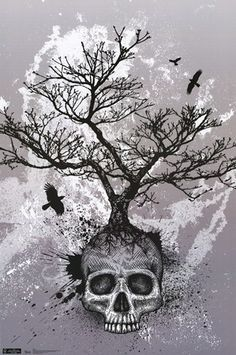 Raven and tree Skull tattoo - Google Search