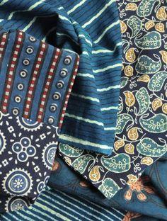 Infinity scarf                              Multi-Print Reversible Indigo Cotton