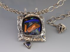 """Contemporary Jewelry - """"Abstract in Blue"""" (Original Art from Julie Beucherie)"""