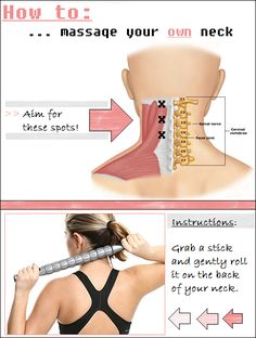 This is a great way to release those tight muscles at the back of your neck. All you need to do is GRAB A STICK. And gently press and roll it onto the areas as indicated by the Neck And Shoulder Exercises, Neck Exercises, Neck And Shoulder Pain, Neck And Back Pain, Shoulder Workout, Neck Pain, Forward Head Posture Correction, Posture Correction Exercises, Posture Stretches