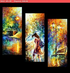 "Triptych Paintings Set - Aura Of Autumn (Set Of 3)  — 3 Piece Wall Art Oil Painting On Canvas By Leonid Afremov. Size: 16"" X 40"" Each"