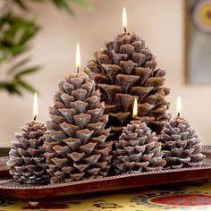 DIY Pine Cone Candles