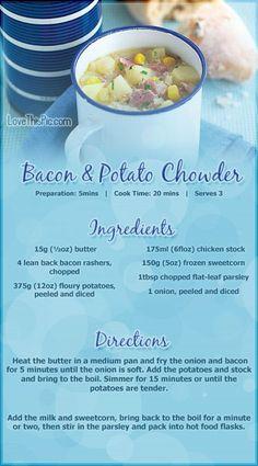 Bacon and Potato Chowder Recipe soup recipes healthy healthy recipes soup recipes starter starter recipes #recipes