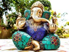 Antique God Ganesha Statue, Rare  Heavy & Turquiose Ganesha Lucky Sculpture, Hand Carved Collectable Gift on Etsy, $89.00 Sri Ganesh, Lord Ganesha, Dorm Room Themes, Asian Sculptures, Ganesh Statue, Shiva, Krishna, Indian Gods, Mosaic Art