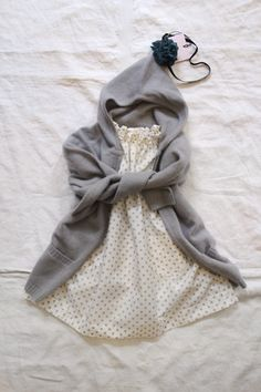 Dress and gray cashmere hoodie. Can I just dress the kids from Makie??
