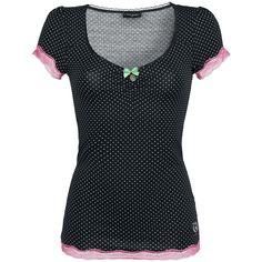 Mit diesem Girl-Shirt erscheinst Du zuckersüß, aber auch verdammt gefährlich! Das schwarze 'Sugar Babe Shirt' von Vive Maria macht seinem Namen alle Ehre und gibt Dir den Killer-Look mit frechem Punk(te)design sowie pinker Spitze an den Ärmeln und am unteren Saum.