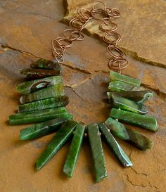 Green Agate Copper Statement Necklace