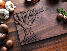 Custom Cutting Board, Personalized Valentines Day Gift for Her, Engraved Wood Oak Tree w/ Carved Heart, Romantic Gift, Wedding Gift, Love on Etsy, $35.00