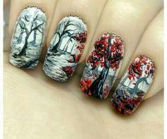 In the forest ⎮ freehand nail art tutorial soak off gel nails, gel nail polish Gel Nail Art Designs, Fingernail Designs, Cute Nail Designs, Autumn Nails, Fall Nail Art, Fancy Nails, Diy Nails, Trendy Nails, Great Nails