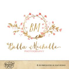 Monogram Premade Logo Watercolor Flower Wreath Design for Photography & Boutique on Etsy, $39.90