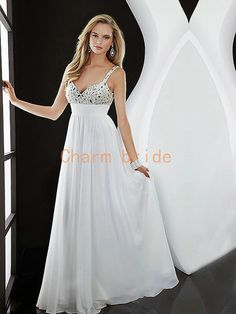 white deep vneck dress with rhinestones   by Charmbride