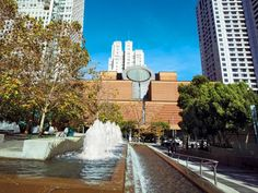 The San Francisco Museum of Modern Art across the street from fountains at Yerba Buena Gardens