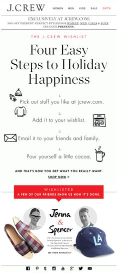 Sent: SL:'Get what you really want' Wish List email from J. What a beautifully designed email with fun call outs that really showcase the brand voice. Email Marketing Design, E-mail Marketing, Engagement Emails, Christmas Newsletter, Email Newsletter Design, Email Newsletters, Mailer Design, Holiday Emails