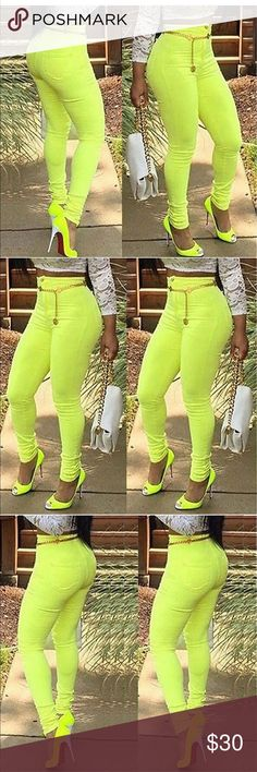 Sexy Yellow Bodycon Jeggings Cotton Blended Material XL:   Waist 72-78cm       Hips 78-80cm     Length 95-96cm Pants Skinny