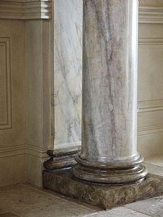 Chateau-Jersey - Hand painted marble, faux marbre (marbling) adorn this new Fibrous plaster column, pilaster & plinth. (Commissioned by Paul Bennett Designs)