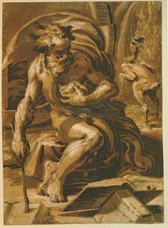 Ugo da Carpi after Parmigianino - Diogenes - Chiaroscuro woodcut, 1520-1530