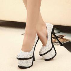 Sequin Platform Silver High Heels
