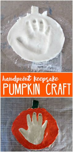 Celebrate the arrival of Fall and make a memory with this adorable handprint keepsake pumpkin craft.