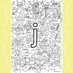 Letter School, Teaching Letters, Letter J, Preschool Worksheets, Spelling, Einstein, Coloring Pages, Homeschool, Education
