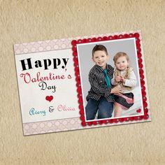 Valentine's Day Photo Card  Customized 5X7 by LilMonkeysDesigns, $13.00