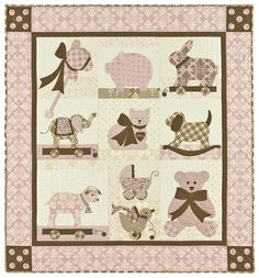 """From Bunny Hill Designs:   Sweet Dreams Lily: 48"""" x 52"""" Quilt. Make your baby girl a boutique baby with the classy color combination of pink and brown. With easy applique and just a touch of embroidery she'll be dreaming of cute little toys in no time at all! With its vintage, yet modern style """"Sweet Dreams Lily"""" is timeless. It's sure to become a treasured heirloom.  Price: $23.99 On sale for $17.99!"""
