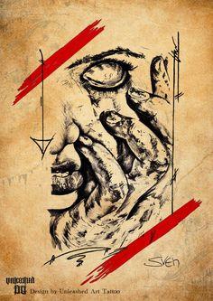 Horror with slightly Polka Trash Elements by UnleashedArtTattoo on DeviantArt New Tattoos, Hand Tattoos, Cool Tattoos, Trash Polka Tattoo, Arte Horror, Make Your Mark, Tatting, Art Drawings, Tattoo Designs