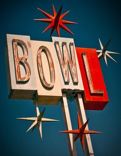 Premiere Lanes Bowl sign, Santa Fe Springs, CA. My parents played on a league every Friday night and we kids ran all over the bowling alley. No one ever worried about us getting snatched.
