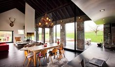 This is a beautiful work of Studio Farris, an old farmhouse which redesigned into a comfortable, modern and energy conscious family home. Studio farris was Farmhouse Architecture, Interior Architecture, Interior Design, Residential Architecture, Sweet Home, Country House Design, Home And Deco, Living Room Modern, Dining Room Furniture
