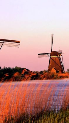 River, Windmills, Netherlands, Landscape