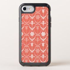 Art Nouveau Spring Bulbs  Monogram - Coral White Speck iPhone Case - elegant gifts gift ideas custom presents