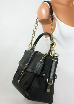 New Authentic Coach Pinnacle Leather Eva Flap Satchel Tote (black/brass)
