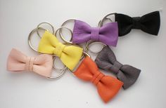 leather bow keychain with silver toned Dring and keyring by ksia
