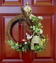 Upstairs Downstairs: Bee Skep and Succulents Wreath
