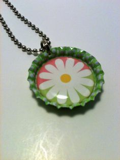 Pink and Green Daisy bottle cap necklace by LillypadPark on Etsy, $4.95